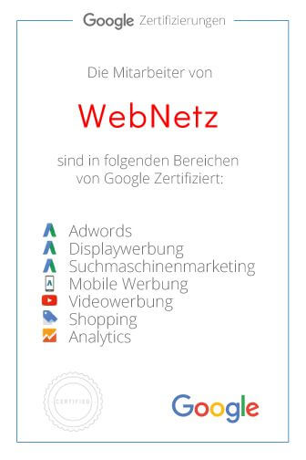 Zertifikat - Webdesign & Online Marketing by Webnetz