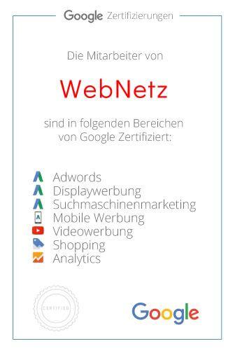 Zertifikat - Webdesign & Online Marketing by Webnetz